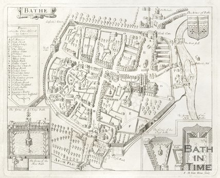 Engraved Map of Bath 1676