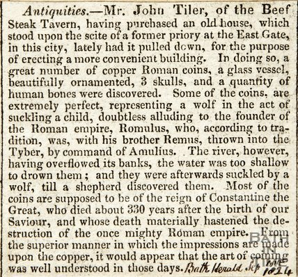 Antiquities describing the Beef Steak Tavern on East Gate, September 10th 1824