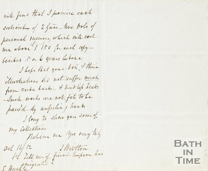 Letter from J Britton to Hunt August 16th 1852 verso