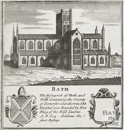 Engraving of Abbey and two shields 1760?