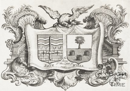 Stylised Engraving of Arms of the Cities of Bath and Wells