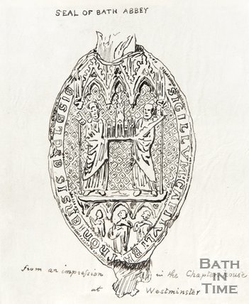 Seal of Bath Abbey from an Impression in the Chapter House at Westminster