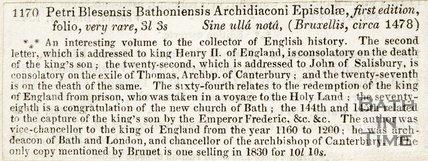 1170 Petri Blesensis Bathoniensis Archidiaconi Epistolae