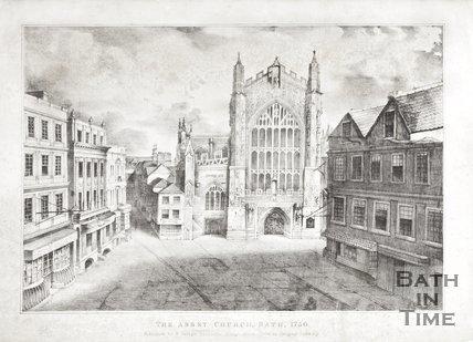 Engraving The Abbey Church Bath 1750