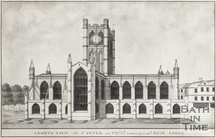 Watercolour of A North View of St. Peters and Pauls, Commonly Called Bath Abbey