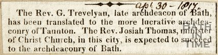 Succession of Bath Archdeaconship April 30th 1817