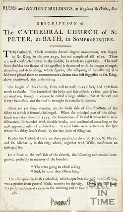 Ruins and Ancient Buildings, In England & Wales &c Description of The Cathedral Church of St. Peter, at Bath in Somersetshire