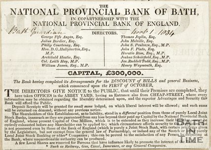 The National Provincial Bank of Bath in co-partnership with the National Provincial Bank of England November 1st 1834