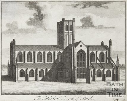 Engraving The Cathedral Church of Bath 1719