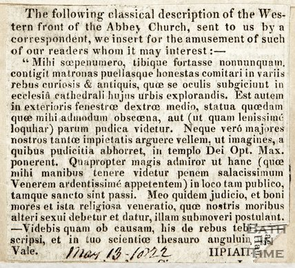 Description of Western Front of the Abbey Church May 13th 1822