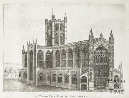 Engraving A North-West View of Bath Abbey 1830?