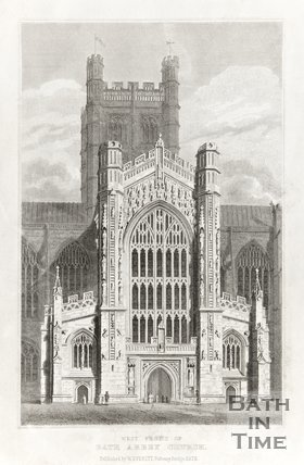 Engraving West Front of Bath Abbey Church 1815