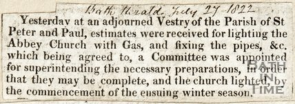 Decision to install of Gas lighting in the Abbey July 27th 1822
