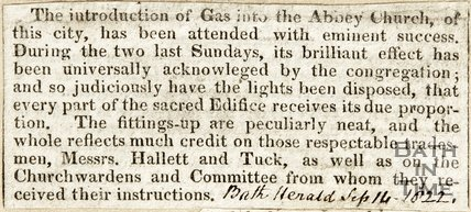 Installation of Gas Lighting in Abbey September 14th 1822