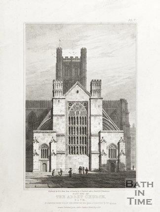 Engraving East End of the Abbey Church Bath To John Wiltshire Esq of Shockerwick, this plate is inscribed by the author. August 1824