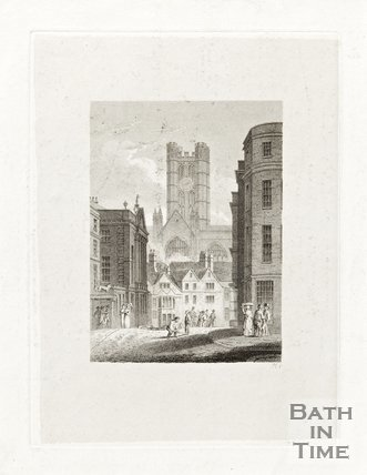 Engraving Bath Abbey from High Street, c.1814