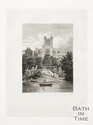 Engraving Bath Abbey From the River, 1814