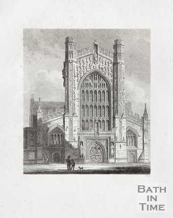 Engraving Bath Abbey, West Front, 1814