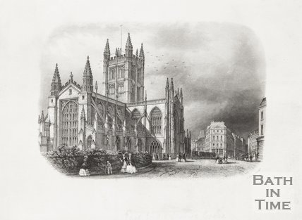 Engraving Bath Abbey from Orange Grove