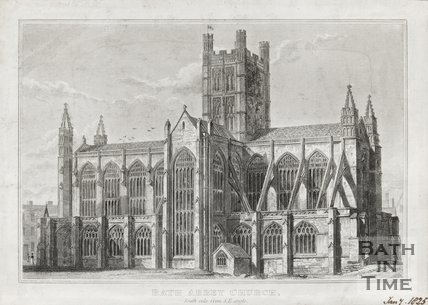 Engraving Bath Abbey Church South Side from S.E. Angle January 7th 1825