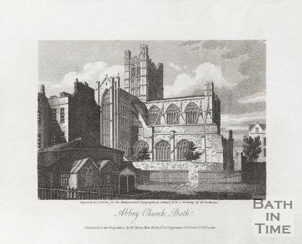 Engraving Abbey Church Bath October 1st 1810