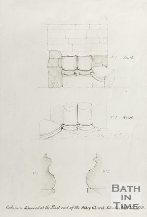 Sketch of Columns Discovered at the East End of the Abbey Church, August 24th 1833