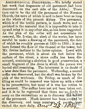 Archaeological Discoveries at Bath Abbey by J.T. Irvine, August 25th 1869