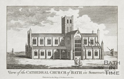 Engraving View of the Cathedral Church of Bath in Somersetshire