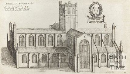Engraving The South Prospect of the Cathedral Church of Bath 1760?