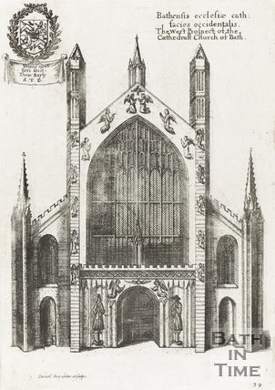 Engraving West Prospect of the Cathedral Church of Bath 1655