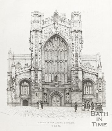Engraving Front of the Abbey Church Bath 1830?