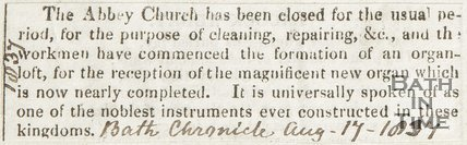 Closure of Abbey Church for Cleaning and Organ Fitting August 19th 1834