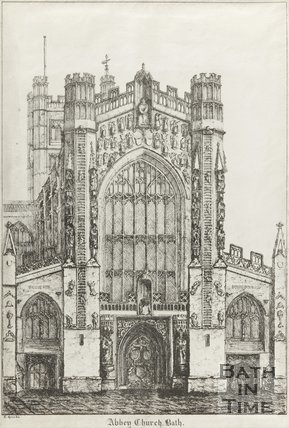 Engraving Bath Abbey, c.1825