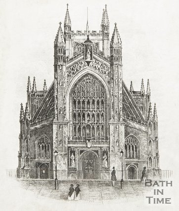 Engraving West Front Bath Abbey 1850?