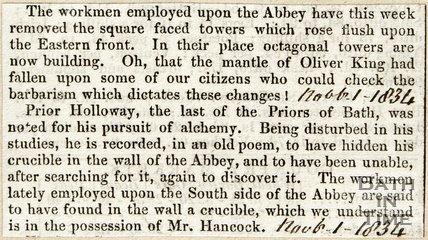 Workman's progress on Abbey Alteration November 1st 1834