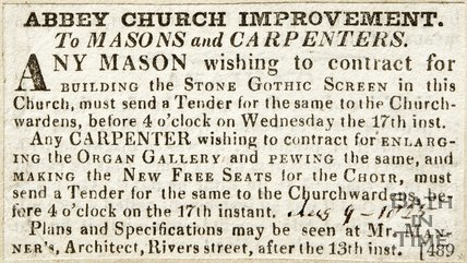 Abbey Church Improvement. To Masons and Carpenters August 9th 1825
