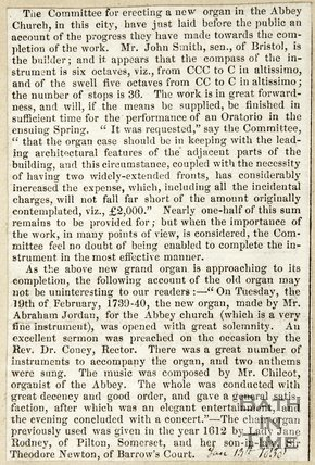 Raising money for erection of New Organ in Abbey Church and history of previous Organs. January 13th 1838