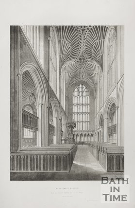 Bath Abbey Church view of the Choir 1845