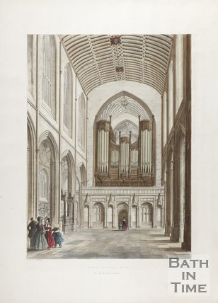 Engraving Abbey Church Bath View from Western Entrance 1836
