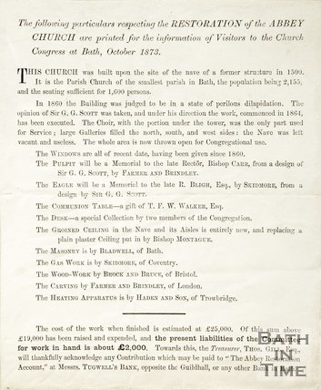 The following particulars respecting the restoration of the Abbey Church and printed for the information of visitors to the Church congress at Bath. October 1873