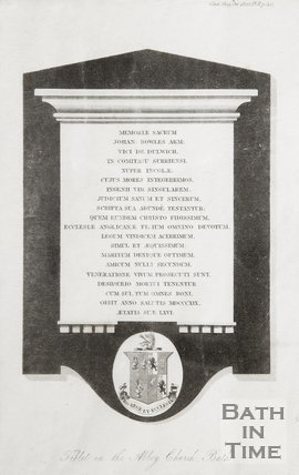 Tablet for John Bowles in the Abbey Church Bath October 1820