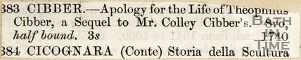Apology for the life of Theophilus Cibber, sequel to Mr Coley Cibber's. C ICOGNARA Storia della sculptora