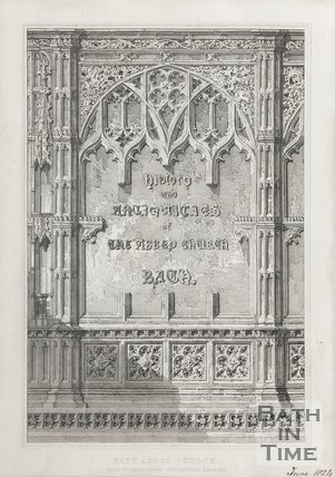 Engraving Bath Abbey Church Part of Prior Bird's Monumental Chantry June 1824