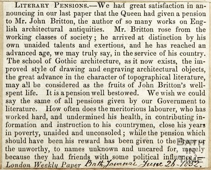 Literary Pension, the Queen has given a pension to Mr. John Britton June 26th 1852