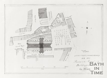 Plan of High Street, Orange Grove 1821 Previous to the removal of the buildings around the Abbey, showing Wades Passage