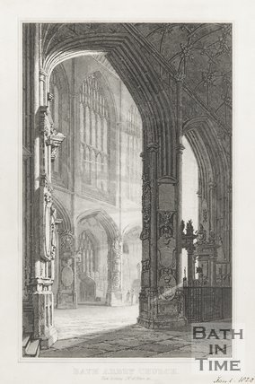 Engraving of Bath Abbey Church View looking South West of Nave January 1st 1820