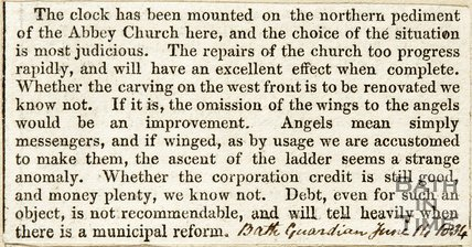 Exterior work to Abbey and repairs of Church June 14th 1834