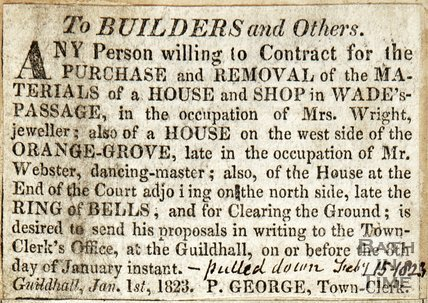 To Builders and Others January 1st 1823