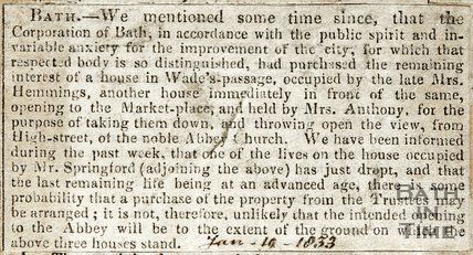 Purchase of house in Wades passage for demolition January 19th 1833