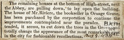 Further purchasing of houses at High Street bottom, Cutting down tree's in Grove August 9th 1834